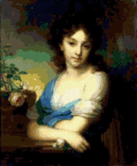Девушка с розой, предпросмотр