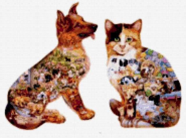 Картинка в картинке(кот и пес)
