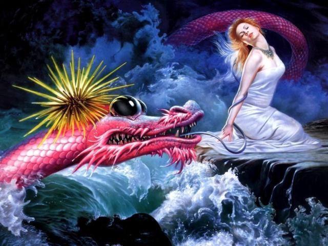 Девушка и дракон, оригинал