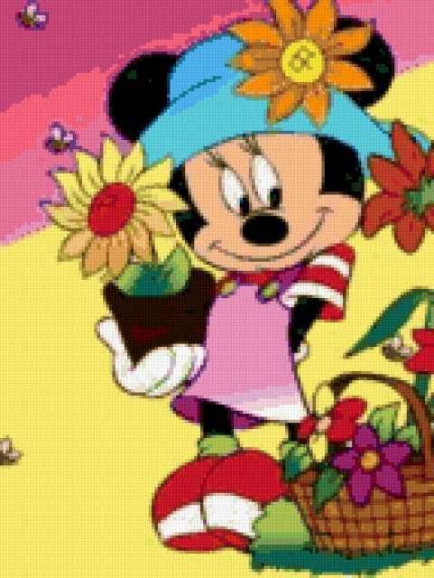 Минни Маус и цветы,