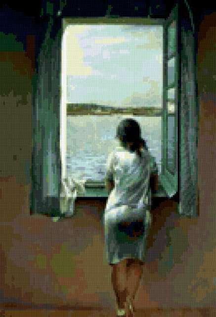 Женская фигура у окна.