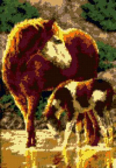 На водопое, лошади