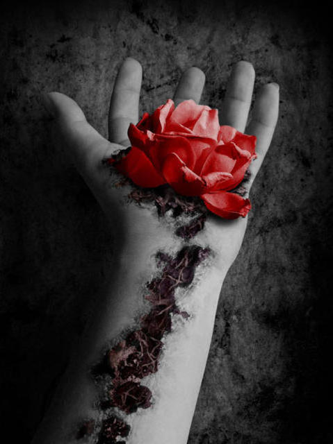 фото с розой в руке