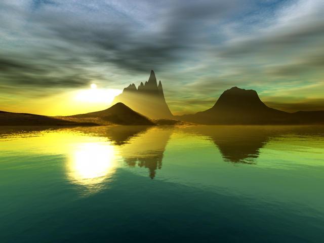 Восход, восход, пейзаж