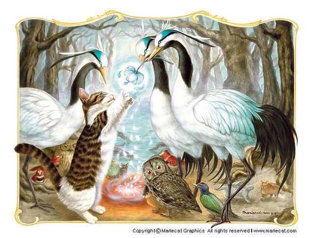 Кот и цапли, кошка, котенок,