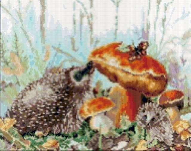 Ежик и гриб, животные, грибы