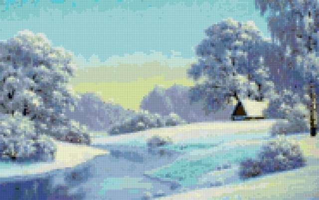 Зима у реки, пейзаж, зима