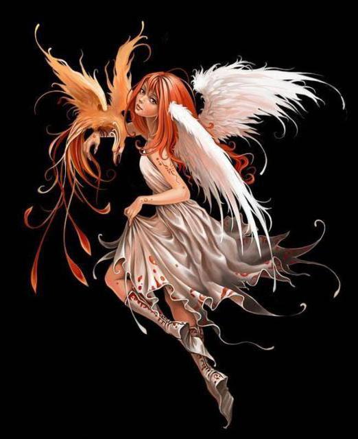 Феникс, девушка, птица