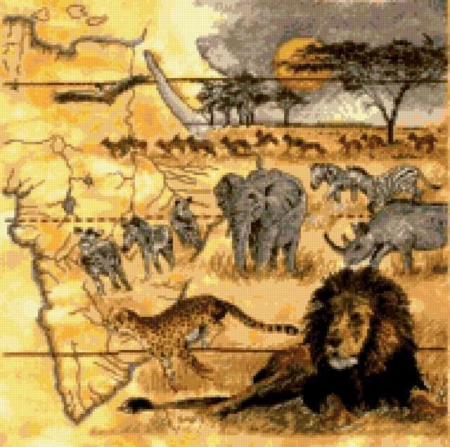 Коллаж-саванна, африка