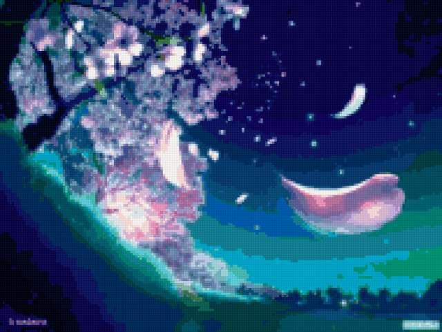 в цвету, ночь, луна, цветы