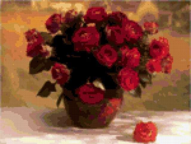 Вышивка крестом цветы в кувшине