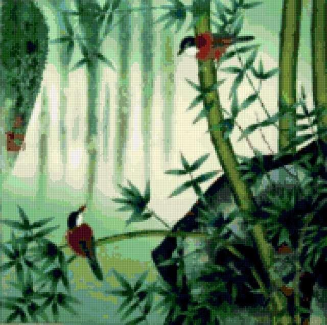 Бамбук и птицы, предпросмотр