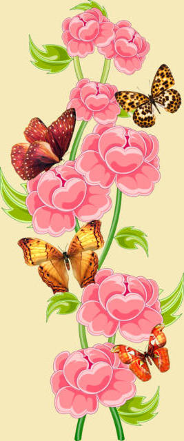 Оригинал - Схема вышивки «Цветы с бабочками» - Автор ...