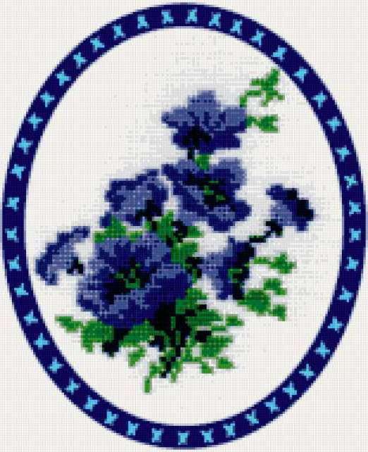 Вышивка синие цветы схема 85