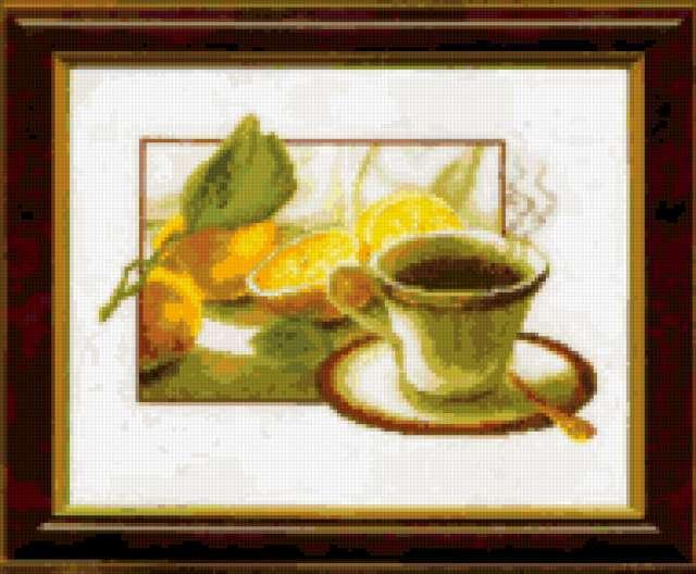 Чай с лимоном, натюрморт