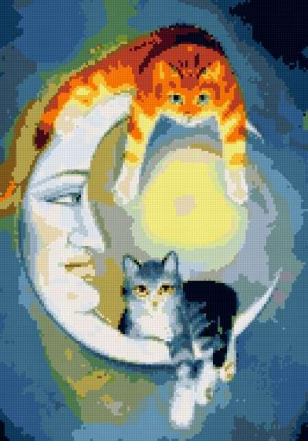Месяц и кошки, предпросмотр