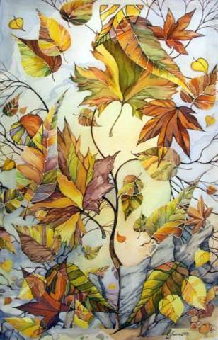 Осенние листья, цветы, листья,