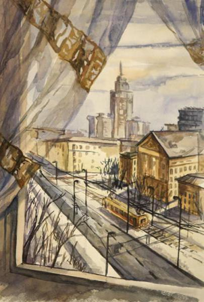 Вид из окна, картина, город