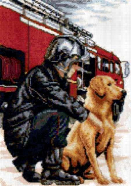 Пожарник схема для вышивки