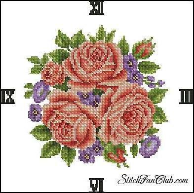Часы, цветы, розы.часы