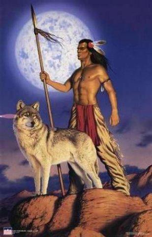 индеец с волком, индейцы
