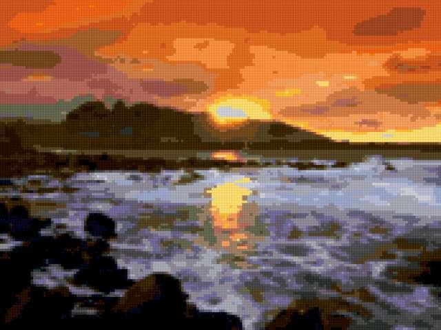 Закат над морем, предпросмотр
