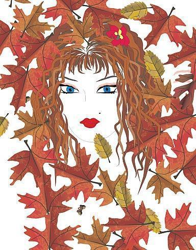 Лицо - осень, графика, девушка