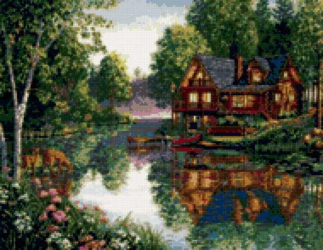 Домик у пруда, дома, природа