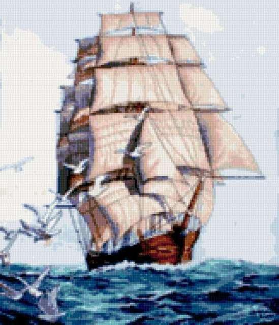 Корабль и чайки, предпросмотр
