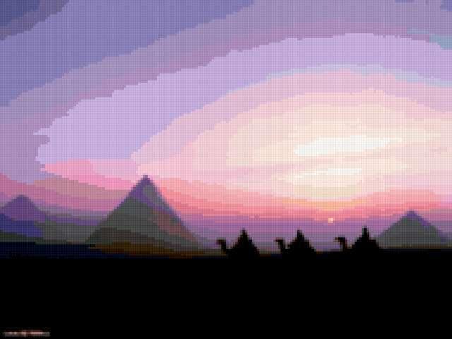 Караван и пирамиды, пустыня,