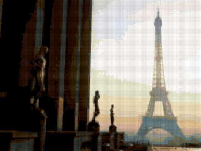 Эйфелева башня на рассвете,
