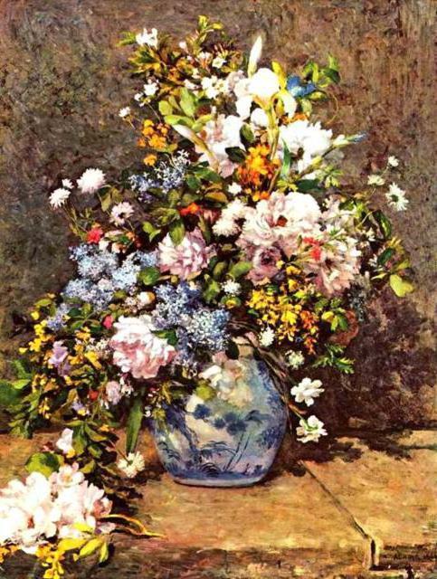 Большая ваза с цветами(Ренуар)