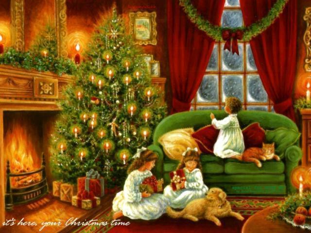 Дети и новогодняя елка,