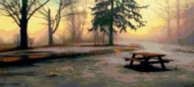Стол для пикника зимой,