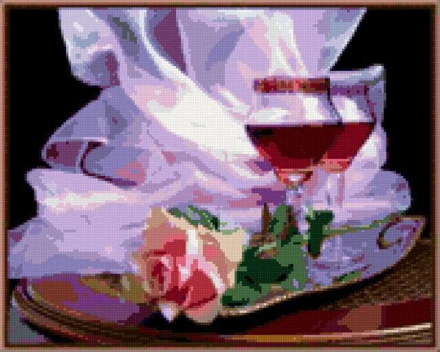 Вышивки бокал с розой