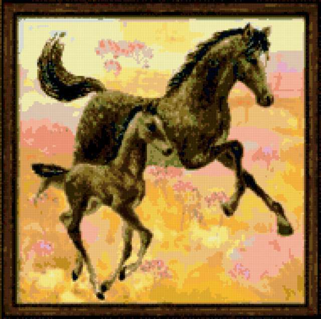 Лошадь с жеребенком схемы вышивки