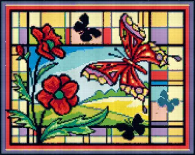 Витраж с бабочкой