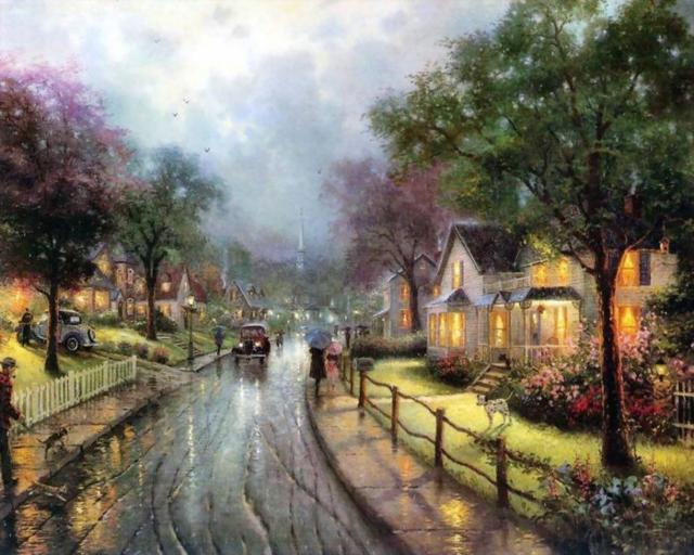 Дождливый день, город, томас