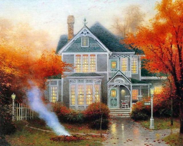 Осень (Томас Кинкейд), домик,
