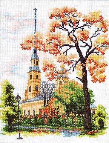 Пейзаж и церковь вышивка