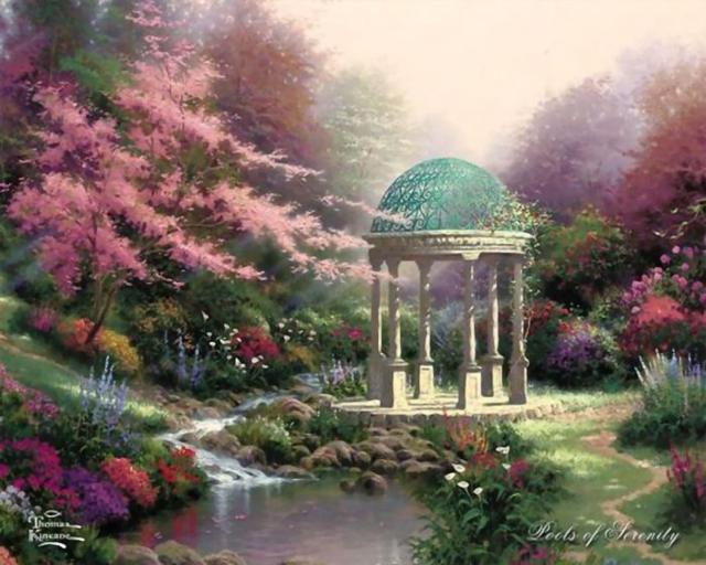 Беседка в саду, природа,