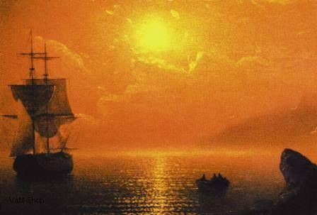 Закат на море, пейзаж, закат,
