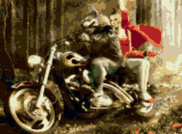 Красная шапочка и волк,