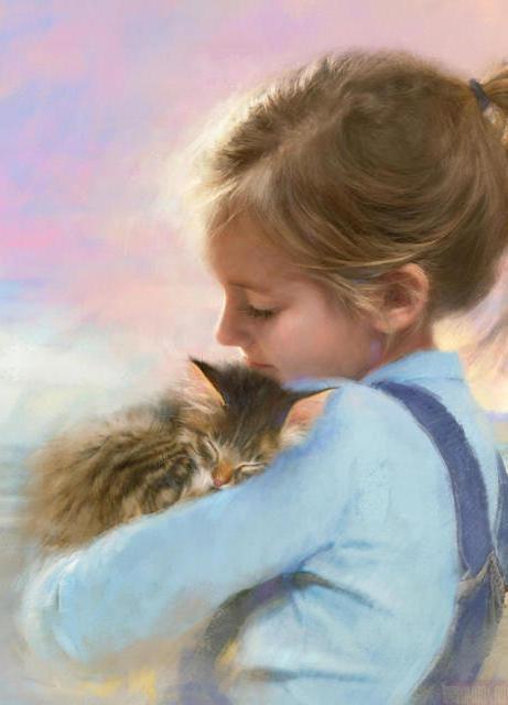 Девочка с котенком на руках,