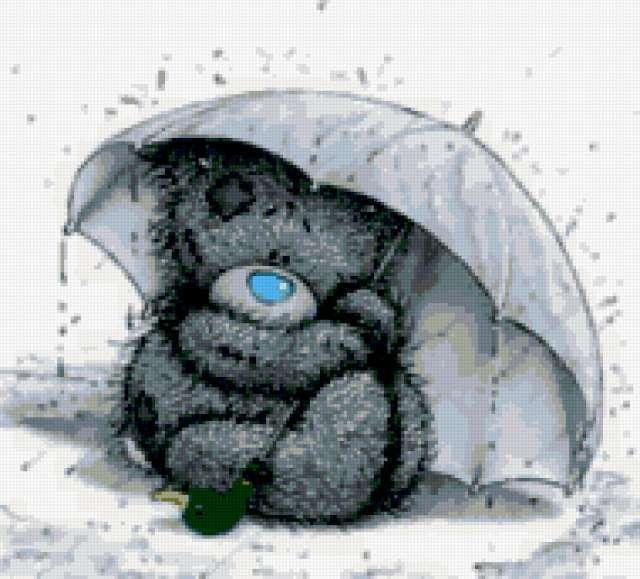 Мишка под дождем, предпросмотр