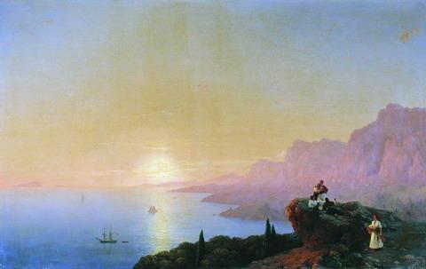 Морской залив, море, картина,