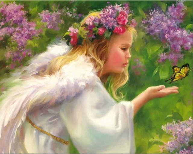 Девочка-ангел с бабочкой,