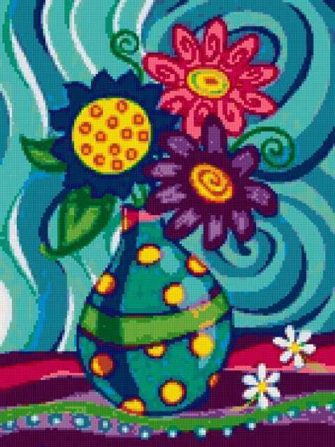 Яркие цветы, цветы, ваза