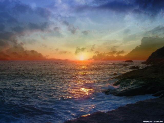 Рассвет, пейзаж, природа, море