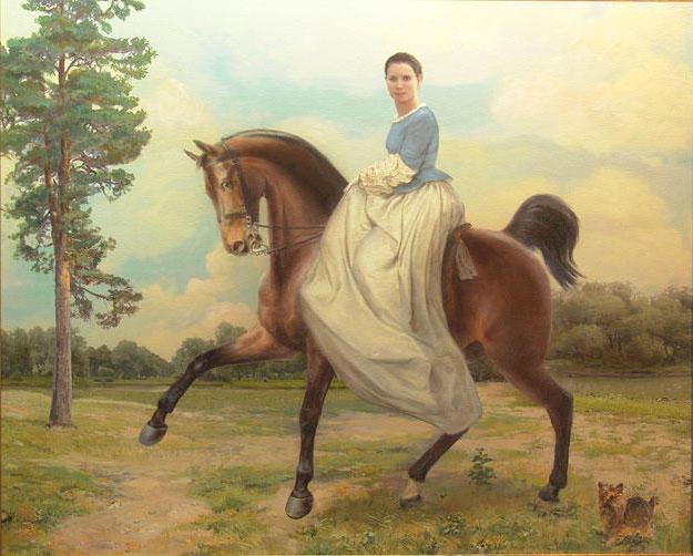Всадница, дамы, кони